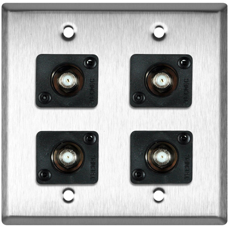 2G Black Anodized Wall Plate with 4 Front Recessed F- Female Barrel Connectors