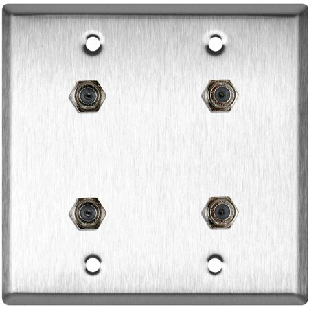 2-Gang Ivory Lexan Wall Plate with 4 F- Female Barrel Connectors