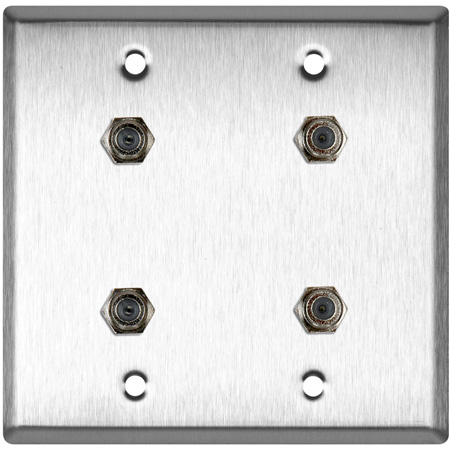 2-Gang Brass Wall Plate with 4 F- Female Barrel Connectors