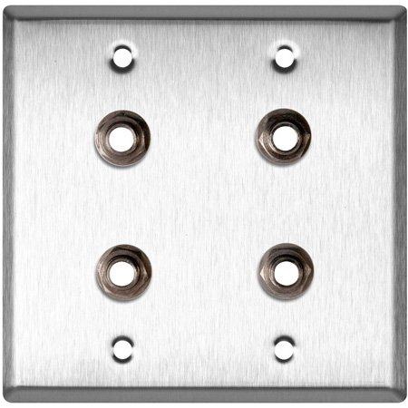 2-Gang Brass  Wall Plate with 4 Switchcraft SW12B Stereo 1/4 Jacks