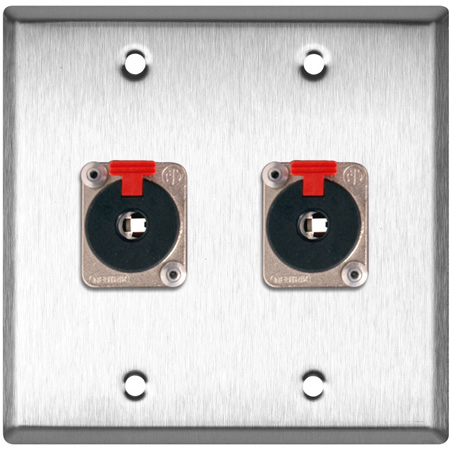 2G Black Anodized Wall Plate with 2 - Neutrik NJ3FP6C Stereo 1/4 Latching Jacks