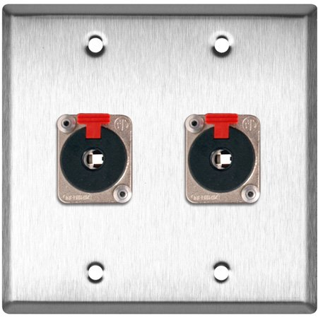 2G Brass Wall Plate with 2 - Neutrik NJ3FP6C Stereo 1/4 Latching Jacks