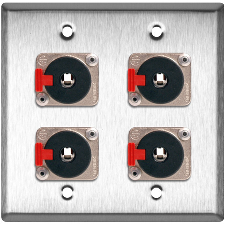 2G Brass Wall Plate with 4 - Neutrik NJ3FP6C Stereo 1/4 Latching Jacks