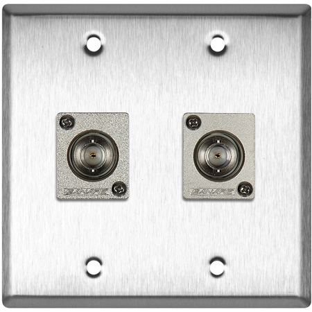 2G Brass Wall Plate with 2 Canare BCJ-JRU Recessed BNC Barrels