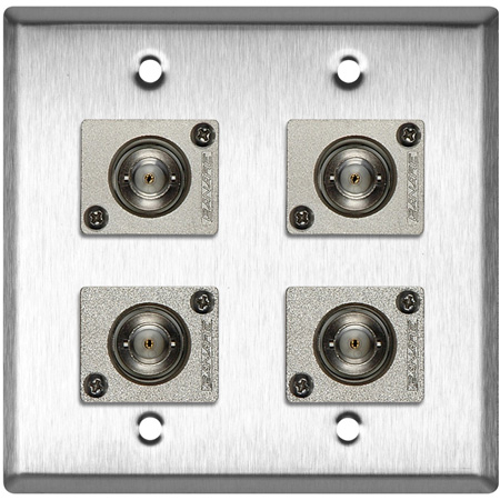 2G Brass Wall Plate with 4 Canare BCJ-JRU Recessed BNC Barrels