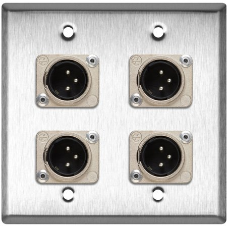 2-Gang Brown Lexan Wall Plate with 4 Neutrik XLR 3-Pin Male Connectors