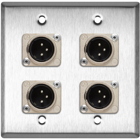2-Gang Clear Anodized Wall Plate w/4 Neutrik XLR 3-Pin Male Connectors