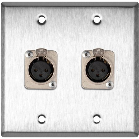 2-Gang Ivory Lexan Wall Plate w/2 Neutrik Latching 3-Pin XLR Females