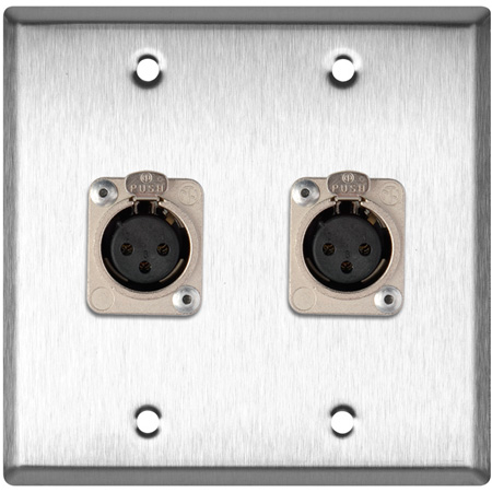 2-Gang Brass Wall Plate with 2 Neutrik Latching 3-Pin XLR Females