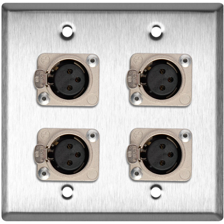 2-Gang Gray Lexan Wall Plate with 4 Neutrik Latching 3-Pin XLR