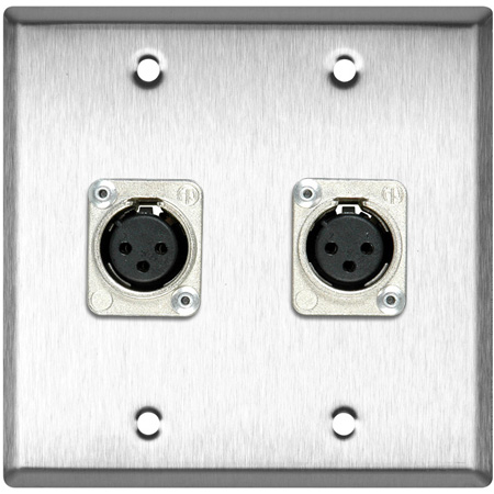 2-Gang Clear Anodized Wall Plate with 2 Latchless 3-Pin XLR Females