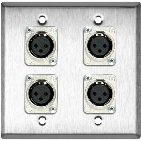 2-Gang Black Anodized Wall Plate with 4 Latchless 3-Pin XLR Females