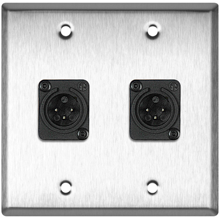 2 Gang Clear Anodized Wallplate w/2 Neutrik Plastic 3-Pin XLR-Ms