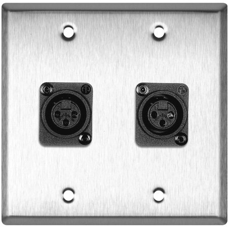2-Gang Black Anodized Wall Plate w/2 Plastic Latchless 3-Pin XLR-Fs