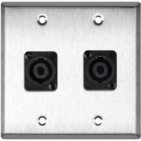 2G Black Anodized Wallplate w/2 Neutrik NL4MP -D-Series 4 Pole Speakon