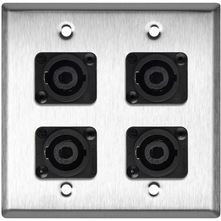 2-Gang Brass Wall Plate with 4 Neutrik NL4MP 4-Pole Speakons
