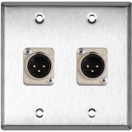2-Gang Brass Wall Plate with 4 Neutrik Plastic 3-Pin XLR Males