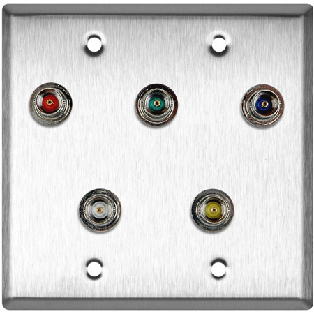 2-Gang Brass Wall Plate with 5 BNC RGBHV Barrels