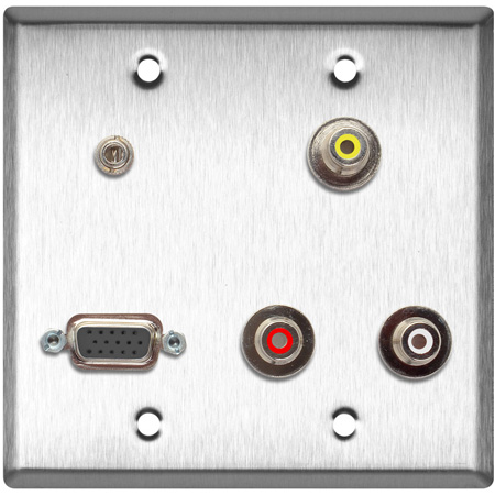2G Brass Wall Plate w/3- PF-PFCM Rca Feed-Thru 1- HD15 & 1- 3.5 Mini Feed Thru