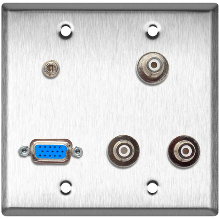 2G Clear Anodized Wall Plate w/1-HD15F/3-RCA Barrels and 1 -3.5 Stereo Mini Jack