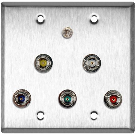 2G Clear Anodized Wall Plate w/ 5 BNC RGBHV Barrels & 1-3.5mm Stereo Mini Jack