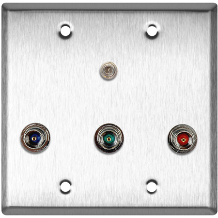 2-Gang Wall Plate with 3 BNC RGB Barrels and 1 Stereo Mini Jack