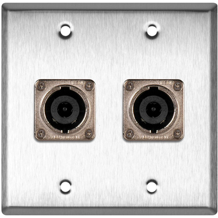 2G Brass Wall Plate with 2 Neutrik NL8MPR 8 Pole Speakon Connectors