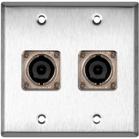 2G Black Anodized Wall Plate with 2 Neutrik NL8MPR 8 Pole Speakon Connectors