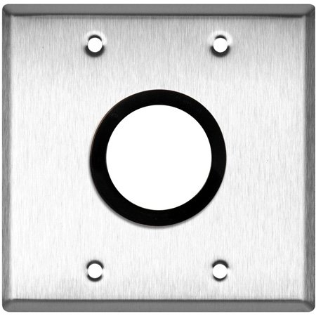 2-Gang White Lexan Wall Plate with One 1-5/8 inch Grommet