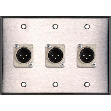 3-Gang Black Anodized Wall Plate w/3 Neutrik Latching 3-Pin XLR Males