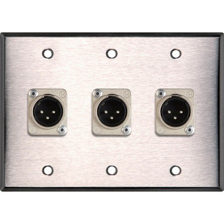 3-Gang Clear Anodized Wall Plate w/3 Neutrik Latching 3-Pin XLR Males