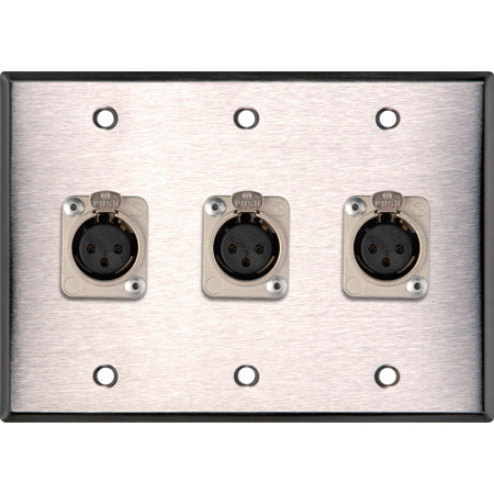 3-Gang Black Anodized Wall Plate w/3 Latching Neutrik 3-Pin XLR-Fs
