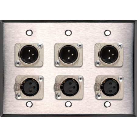 Neutrik Triple 3-Pin XLR-M & Triple XLR-F 3-Gang Stainless Wall Plate