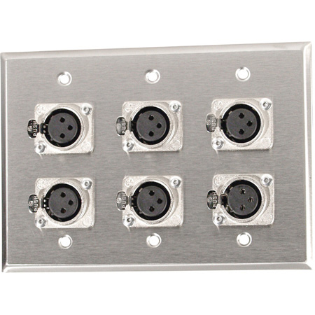 3-Gang Stainless Plate with 6 Latching 3-Pin XLR Female Terminal Block