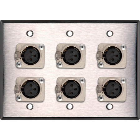 3-Gang White Lexan Wall Plate w/6 Latching Neutrik 3-Pin XLR Females