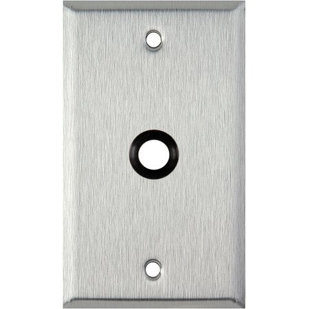 1G Black Anodized Aluminum Wall Plate with One 3/8 inch Grommet