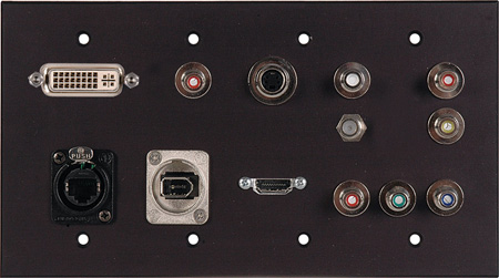 TecNec Clear Anodized Aluminum Multimedia - Presentation - Multi Format 4 Gang  A/V Wall Plate
