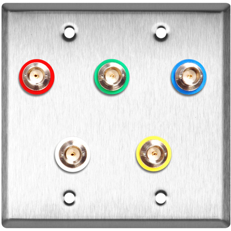 2G Brass Wall Plate w/ 5 Canare BNC Barrels each with Color Coding