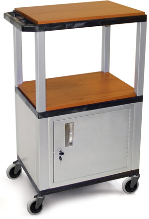 H. Wilson WT2642CE-N Utility AV Cart (Nickel Legs and Cabinet)