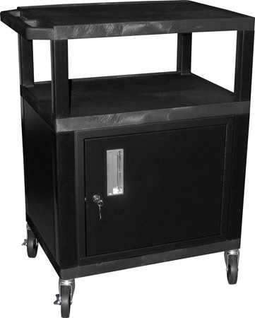 H. Wilson WT42C2E Utility AV Cart 42 Inch High with Black Cabinet