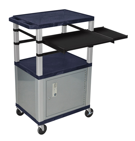 Topaz Blue/Nickel 42-Inch Tuffy Cabinet Cart w/Keyboard & Side Shelf/Electric