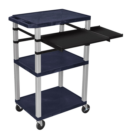 Topaz Blue 42-Inch Tuffy Cart Nickel Legs w/Keyboard & Side Shelf Plus Electric