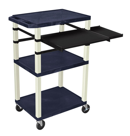 Topaz Blue 42-Inch Tuffy Cart Putty Legs w/Keyboard & Side Shelf Plus Electric