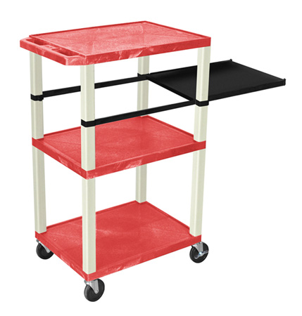 RED 42-Inch Tuffy Cart - Putty Legs with Side Shelf & Electric