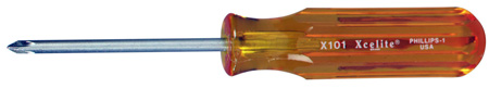 Xcelite X101 No. ! Phillips x 3 Inch Round Blade Screwdriver with Amber Handle