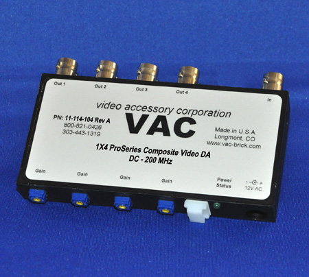 VAC 11-114-104 1x4 Independent Gain Composite Video DA