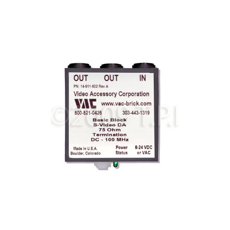 VAC 14-911-602 1x2 Mini-Brick S-Video Distribution Amp with Mini Dins