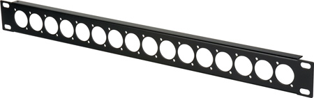 Connectronics Punched Unloaded 16 Point D-Series XLR Rack Panel - 1 RU