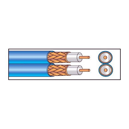 West Penn 252825 Siamese Dual Coax Plenum S-Video Cable 1000ft Roll
