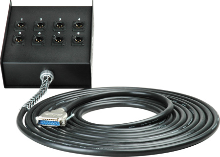Sescom Built Canare Analog 25Pin Dsub Male to 8 XLR Male Receptacle Fan Box- 15 Foot